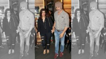 Twinkle Khanna and Akshay Khanna spotted at a suburban cinema hall in Mumbai.