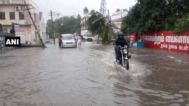 Heavy rains, strong winds disrupt normal life in Kanyakumari.