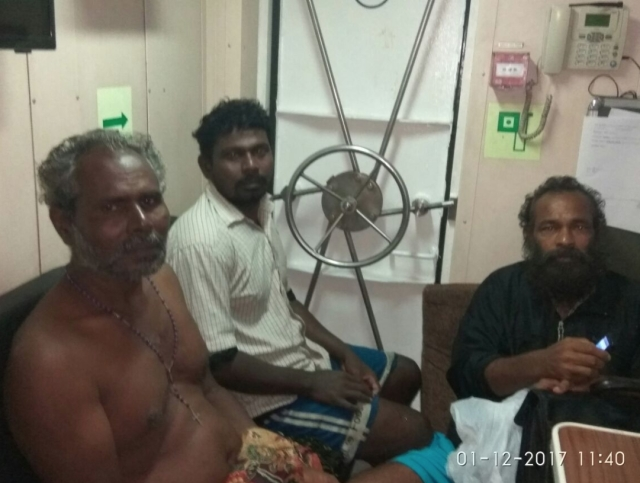 Fishermen along with their vessel rescued at sea off Vizhinjam this morning brought ashore safely.