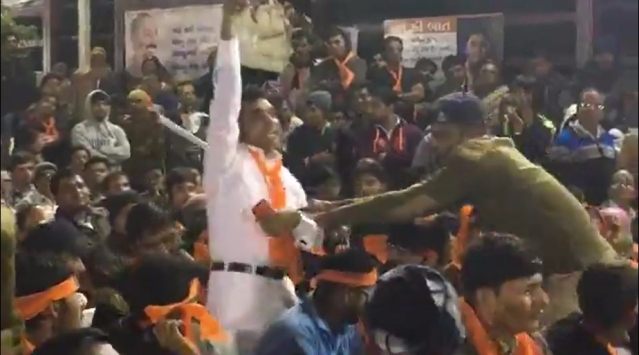 The man who disrupted Yogi Adityanath's speech in Amreli with chants of 'Jai Bhim!'