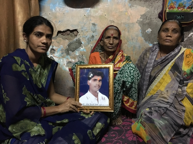 Sangeeta Shingare (L)  her mother-in-law and sister-in-law are still mourning over Santosh's death to tuberculosis and other infections.