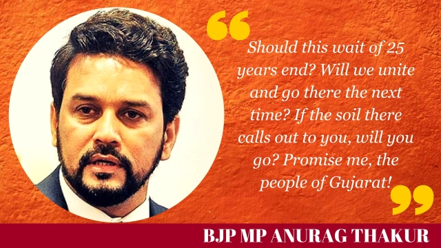 Anurag Thakur exhorts the crowd on the promise of a Ram Mandir in Ayodhya.