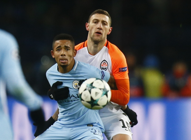 Manchester City's Gabriel Jesus challenges for the ball with Shakhtar's Ivan Ordets.<a></a>