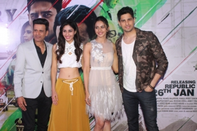 "Mumbai: Actors Sidharth Malhotra, Manoj Bajpayee, Rakul Preet Singh and Pooja Chopra at the trailer launch of their upcoming film ""Aiyaary"" in Mumbai on Dec 19, 2017. (Photo: IANS)"