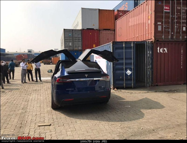 The Tesla Model X at the port in Mumbai.