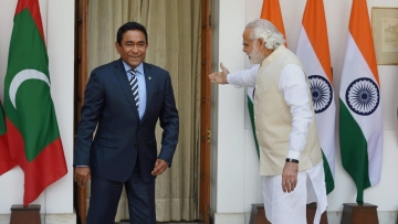 File photo of Maldives President Abdulla Yameen Abdul Gayoom and Prime Minister Narendra Modi in New Delhi.