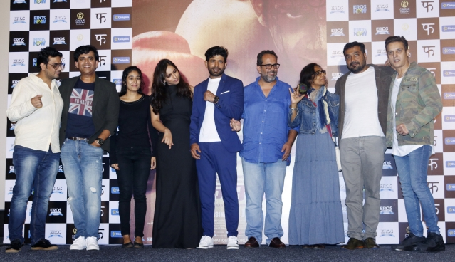 The cast and crew of <i>Mukkabaaz </i>at the trailer launch.