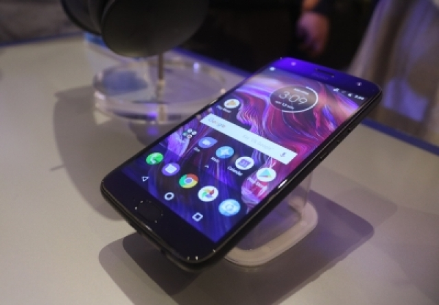 New Delhi: A view of the newly launched Moto X4 smartphone on display in New Delhi on Nov 13, 2017. (Photo: IANS)