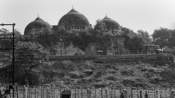 A view of the Babri Masjid in Ayodhya in October 1990.