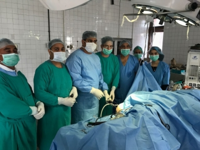 Arthoscopy being performed Udhampur district hospital by senior Orthopedic surgeon Dr Balvinder Singh and team.