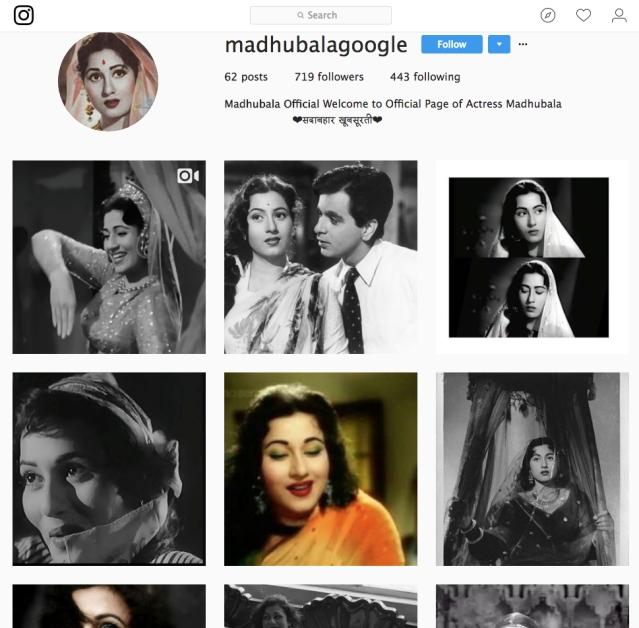 One of the many Instagram pages dedicated to Madhubala.