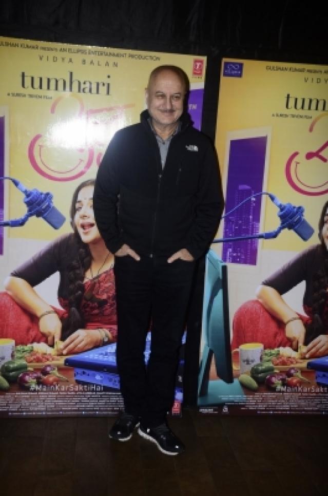 "Mumbai: Actor Anupam Kher at the special screening of upcoming film ""Tumhari Sulu"" in Mumbai on Nov 14, 2017. (Photo: IANS)"