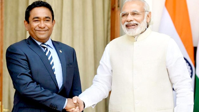 File photo of Prime Minister Modi and Maldives President Abdulla Yameen.