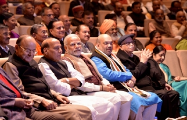 New Delhi: Prime Minister Narendra Modi with Union Ministers Arun Jaitley, Rajnath Singh and Sushma Swaraj, BJP chief Amit Shah and BJP MP L. K. Advani during BJP