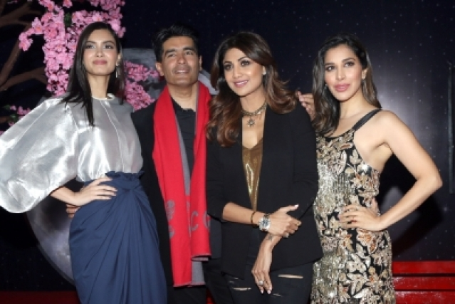 New Delhi: Fashion designer Manish Malhotra Actress Diana Penty, Shilpa Shetty and Singer Sophie Choudry during launch of a club in New Delhi on Dec 16, 2017. (Photo: Amlan Paliwal/IANS)