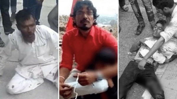Pehlu Khan (left) was lynched in Alwar in April, Shambulal Regar (center) killed and set a man on fire in Rajasthan in December, Junaid Khan (right) was stabbed to death in June.
