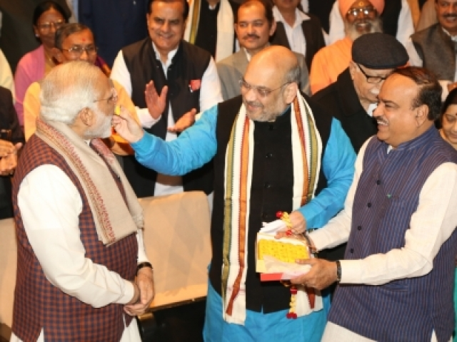New Delhi: Prime Minister Narendra Modi, BJP president Amit Shah, Union Minister Ananth Kumar during the BJP Parliamentary Party meeting at Parliament House in New Delhi on Dec. 20, 2017. (Photo: Amlan Paliwal/IANS)