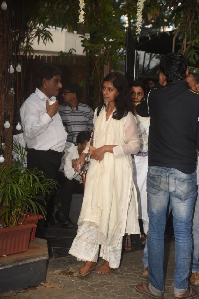 Nandita Das arrives for the service.