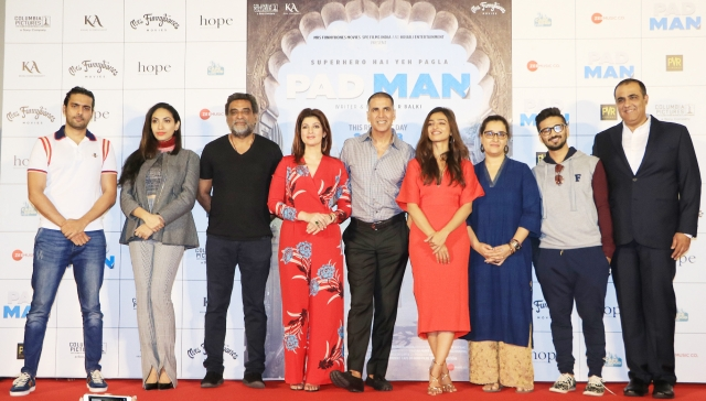 The cast and crew of <i>PadMan</i>, though Sonam Kapoor is missing in action.