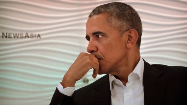 Former US President Barack Obama listens to a question during the <i>Hindustan Times</i> leadership summit in New Delhi on 1 December 2017.