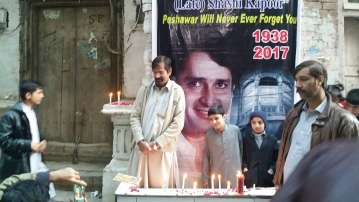 A candle vigil outside Shashi Kapoor's ancestral home in Peshawar.