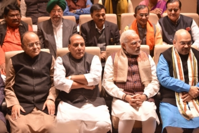 New Delhi: Prime Minister Narendra Modi with Union Ministers Arun Jaitley, Rajnath Singh, and BJP chief Amit Shah during BJP