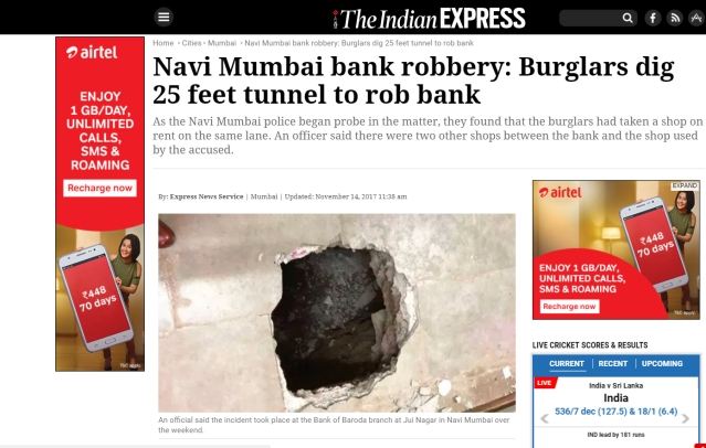 The Indian Express' story on the Navi Mumbai robbery.