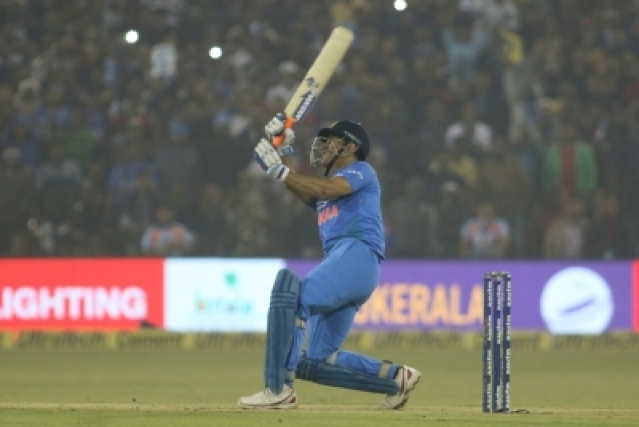 Cuttack: MS Dhoni in action during the first T20 match between India and Sri Lanka at Barabati Stadium in Cuttack on Dec 20, 2017. (Photo: Surjeet Yadav/IANS)