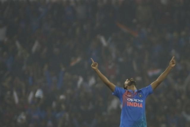 Cuttack: Jaydev Unadkat of India celebrates fall of Niroshan Dickwella