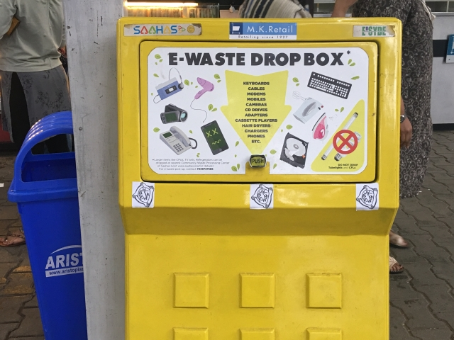 The installation of a public dust bins in Bengaluru has turned out to be a reliable point of collection for e-waste.