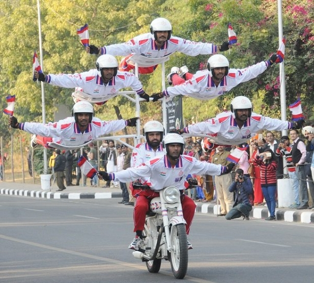 Daredevil Motorcycle Display Team of the Indian Army on Thursday left hundreds of Chandigarh residents awestruck with their exemplary performance.