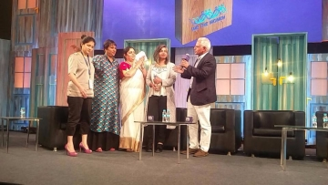 Varnika Kundu and her father VS Kundu with Barkha Dutt at 'We the Women'.