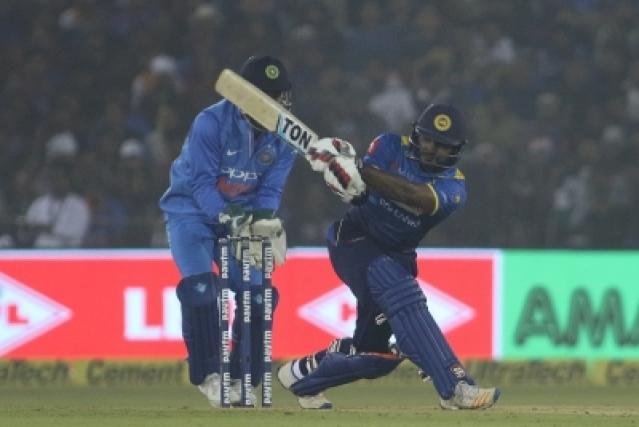 Cuttack: Kusal Perera of Sri Lanka in action during the first T20 match between India and Sri Lanka at Barabati Stadium in Cuttack on Dec 20, 2017. (Photo: Surjeet Yadav/IANS)