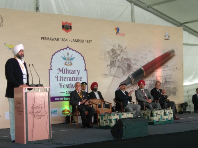 Punjab's Finance Minister Manpreet Singh Badal addresses the gathering at the Military Literature Festival.