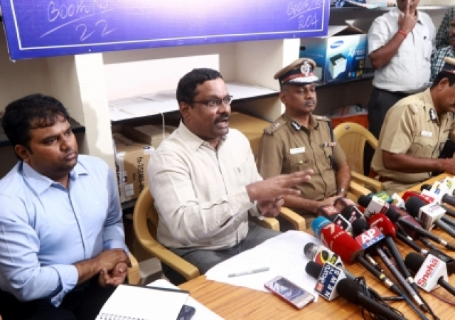 Chennai: Returning Officer Praveen Nair addresses a press conference to tell television channels to not to telecast the video clip of the late J. Jayalalithaa purportedly on her hospital bed, in Chennai on Dec 20, 2017. A day ahead of a critical by-election here in Chennai, sidelined AIADMK leader T.T.V. Dinakaran