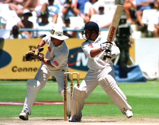 Sachin Tendulkar plays a shot during the Test series in 1997.