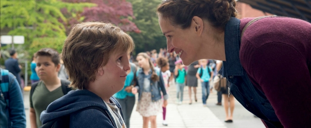 Jacob Tremblay and Julia Roberts in a still from <i>Wonder</i>.