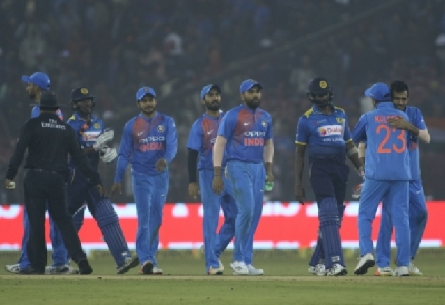 Cuttack: Indian players celebrates after winning the first T20 match against Sri Lanka at Barabati Stadium in Cuttack on Dec 20, 2017. (Photo: Surjeet Yadav/IANS)