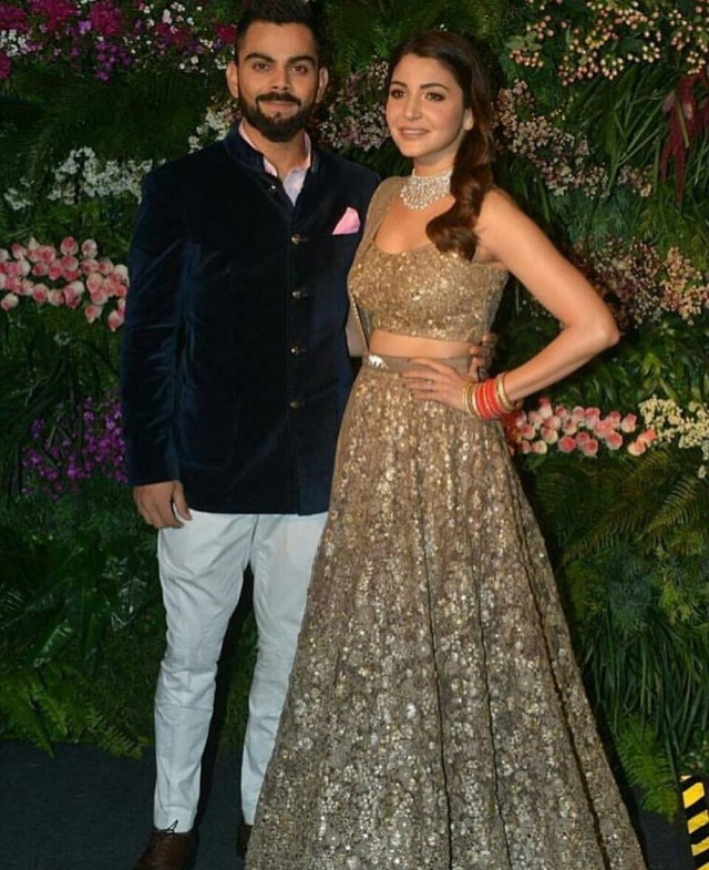 The duo in Mumbai for their wedding reception.