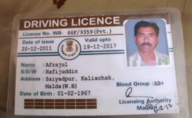 The victim's driving licence.