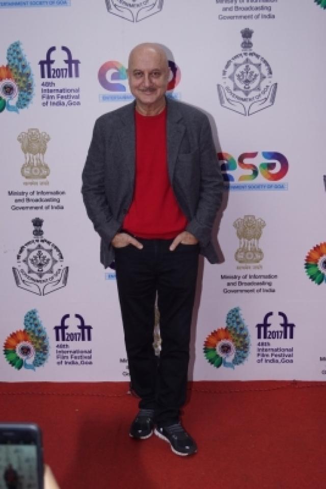 Panaji: Actor Anupam Kher during the 48th International Film Festival of India (IFFI-2017) in Panaji on Nov 25, 2017. (Photo: IANS)