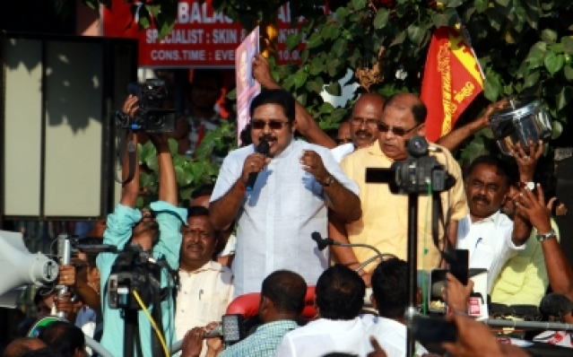 Chennai: Sidelined AIADMK leader T.T.V. Dinakaran campaigns ahead of RK Nagar by-polls in Chennai on Dec 19, 2017. (Photo: IANS)