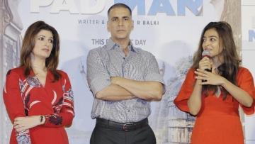 Twinkle Khanna, Akshay Kumar and Radhika Apte at the song launch of <i>PadMan</i>.