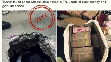 Fake news of tunnel found under Sasikala's house.