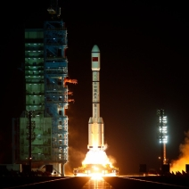 Long March II-F rocket loaded with China's unmanned space module Tiangong-1 lifts off from the launchpad in September 2011.