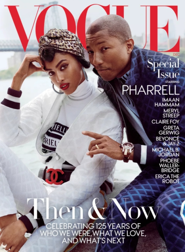Pharrell Williams and Imaan Hammam on <i>Vogue</i>'s 125th anniversary issue cover.
