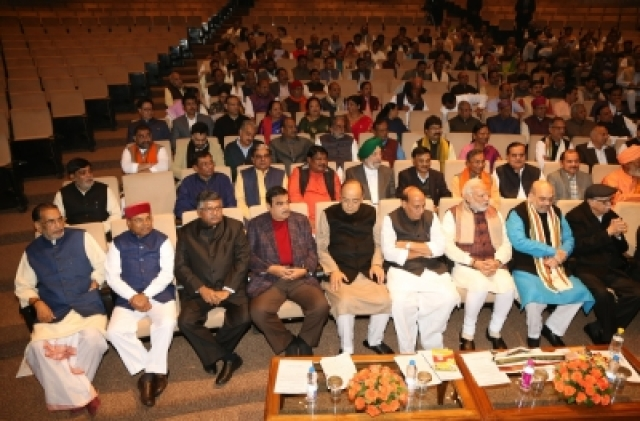 New Delhi: Prime Minister Narendra Modi, BJP president Amit Shah with party leaders during the BJP Parliamentary Party meeting at Parliament House in New Delhi on Dec. 20, 2017. (Photo: Amlan Paliwal/IANS)