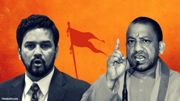 The campaign speeches of UP CM Yogi Adityanath (right) and MP Anurag Thakur show that the BJP is falling back on Hindutva this Gujarat election.