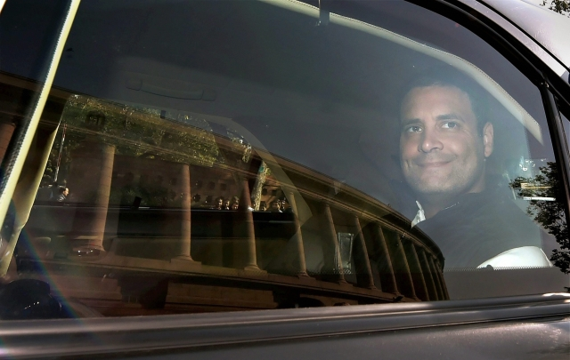 Congress president Rahul Gandhi arrives for  the winter session of Parliament, in New Delhi on Monday, 18 December.