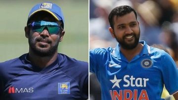 Thisara Perera (left) and Rohit Sharma (right).